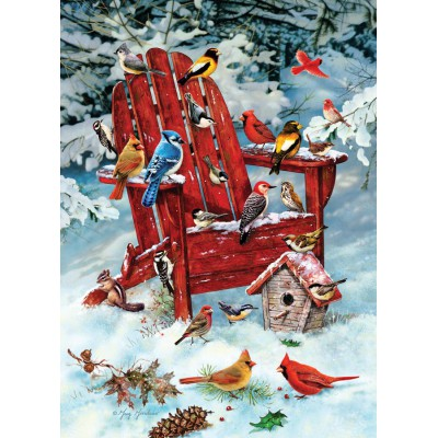 Puzzle Cobble-Hill-80069 Greg Giordano: Vögel auf dem Gartenstuhl