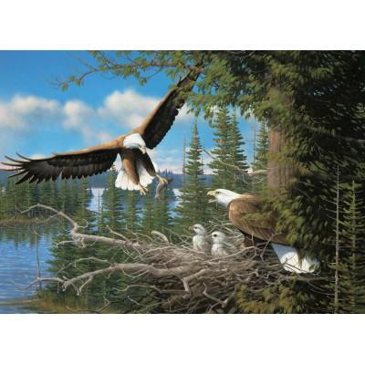 Puzzle  Cobble-Hill-80070 Michael Sieve: Nistende Adler