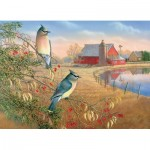 Puzzle  Cobble-Hill-80189 Cedar Waxwings