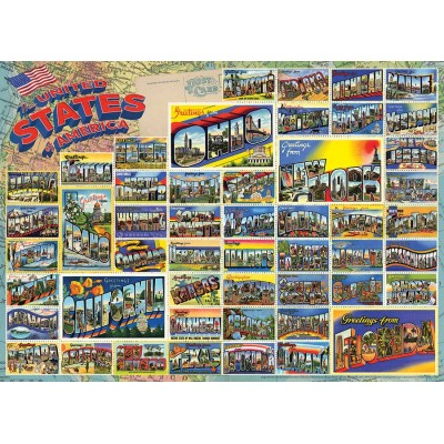 Puzzle Cobble-Hill-80254 Vintage American Postcards
