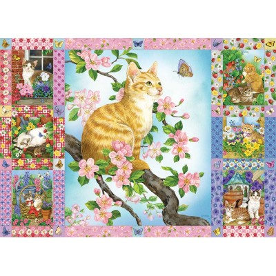 Puzzle  Cobble-Hill-80272 Blossoms and Kittens Quilt