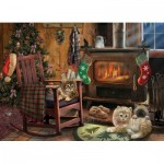 Puzzle  Cobble-Hill-85068 XXL Teile - Kittens by the Stove