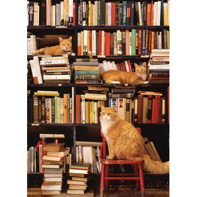 Puzzle  Cobble-Hill-85080 XXL Teile - Gotham Bookstore Cats