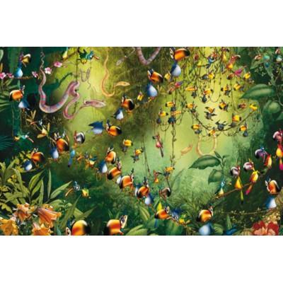 Puzzle  Piatnik-5491 François Ruyer - Tukans im Dschungel