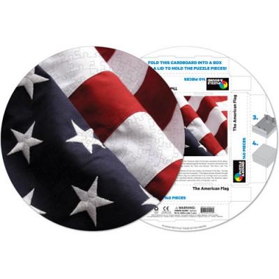 Pigment-and-Hue-RFLAG-41210 Fertiges Rundpuzzle - Amerikanische Flagge