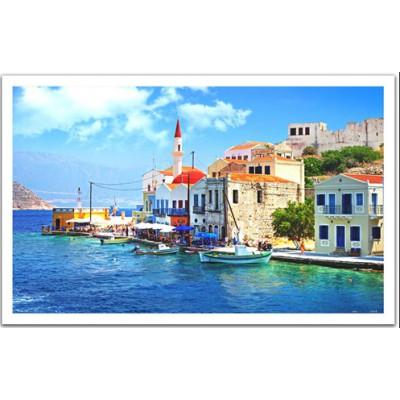 Pintoo-H1240 Puzzle aus Kunststoff - Kleiner Hafen in Griechenland
