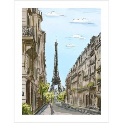Pintoo-H1524 Puzzle aus Kunststoff - Street in Paris, France