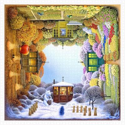 Pintoo-H1918 Puzzle aus Kunststoff - Jacek Yerka - Four Seasons