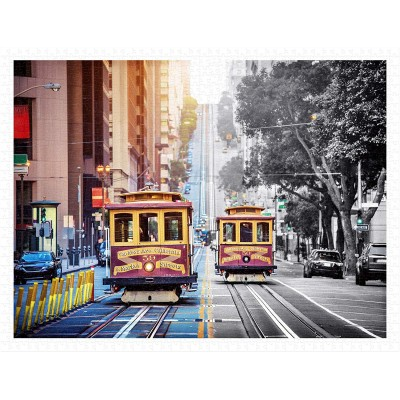 Pintoo-H2044 Puzzle aus Kunststoff - Cable Cars on California Street, San Francisco