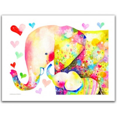 Pintoo-H2106 Puzzle aus Kunststoff - Reina Sato - Elephant Family