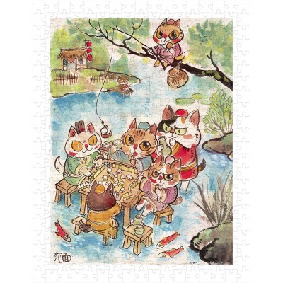 Pintoo-H2112 Puzzle aus Kunststoff - Pao Mian - The Leisure Life of the Cats