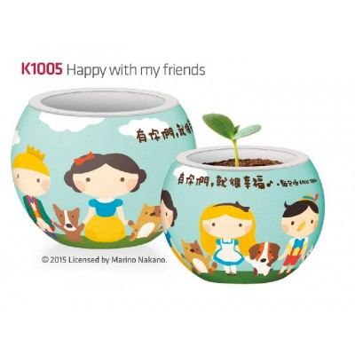 Pintoo-K1005 3D Puzzle - Flower Pot - Happy with my Friends