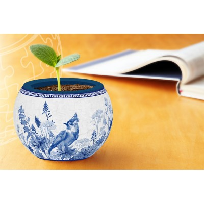 Pintoo-K1053 3D Puzzle - Flowerpot - Oriental Birds, Flowers and Butterfly