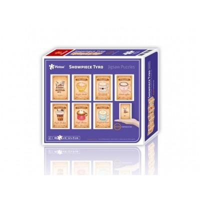 Pintoo-M1266 8 Puzzles 40 Teile - Puzzle aus Kunststoff - Showpiece - Happiness Cafe