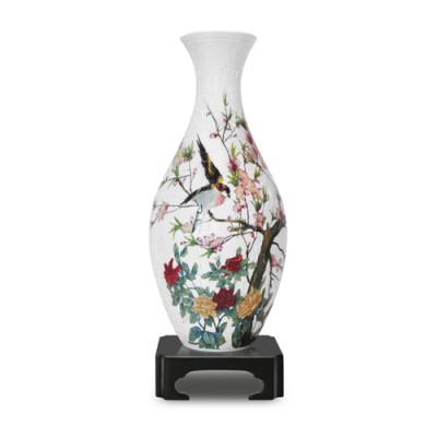 Pintoo-S1001 Puzzle 3D Vase aus Kunststoff 160 Teile - Vögel und Blumen