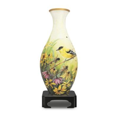Pintoo-S1003 Puzzle 3D Vase aus Kunststoff 160 Teile - Kohlmeisen