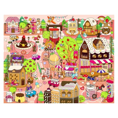 Pintoo-T1013 Puzzle aus Kunststoff - Candy Village