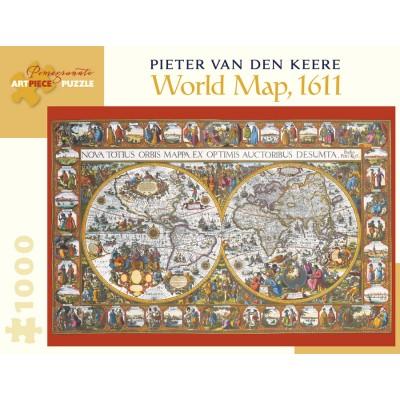 Puzzle  Pomegranate-AA902 Pieter van den Keere - World Map, 1611