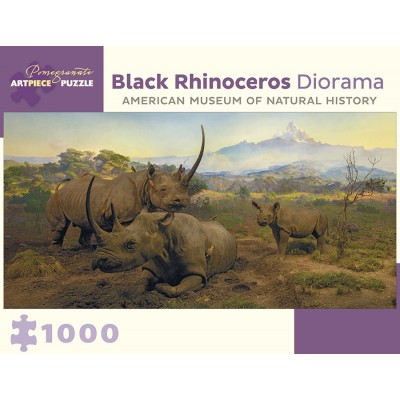 Puzzle  Pomegranate-AA955 Black Rhinoceros Diorama - Northwestern Slope of Mount Kenya, Kenya