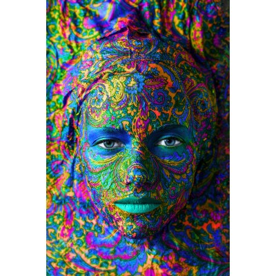 Grafika-Wood-00003 Holzpuzzle - Face Art:  Portrait einer Frau