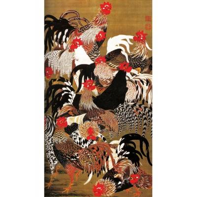 Puzzle-Michele-Wilson-A177-150 Puzzle aus handgefertigten Holzteilen - Japanische Kunst: Hähne und Hennen