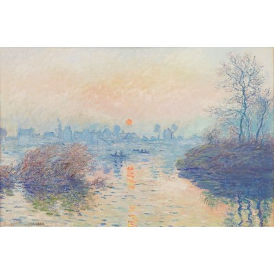 Puzzle-Michele-Wilson-A697-350 Puzzle aus handgefertigten Holzteilen - Claude Monet - Untergehende Sonne in Lavacourt