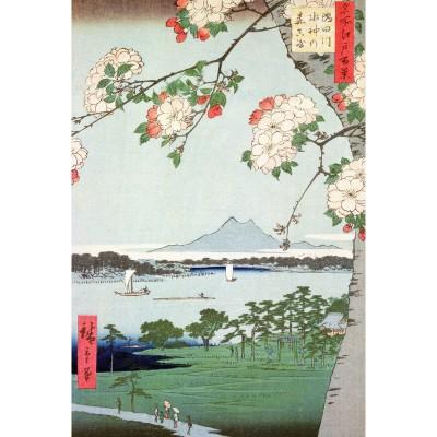 Puzzle-Michele-Wilson-A974-350 Puzzle aus handgefertigten Holzteilen - Hiroshige: Blühender Apfelbaum