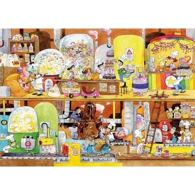 Puzzle-Michele-Wilson-K114-100 Puzzle aus handgefertigten Holzteilen - Cacouault - Süßigkeitenfabrik