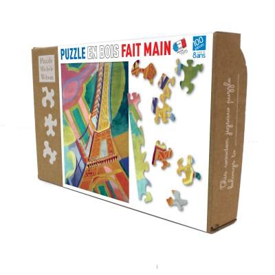 Puzzle-Michele-Wilson-K276-100 Puzzle aus handgefertigten Holzteilen - Robert Delaunay - Eiffelturm