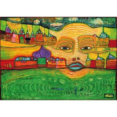 Puzzle-Michele-Wilson-K590-12 Puzzle aus handgefertigten Holzteilen - Friedensreich Hundertwasser - Irinaland über dem Balkan