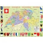 Puzzle-Michele-Wilson-K77-50 Puzzle aus handgefertigten Holzteilen - Schweiz Karte