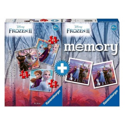 Ravensburger-03032 3 Puzzles + Memory - Frozen II