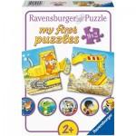 Ravensburger-03074 My First Puzzles - Tiere auf der Baustelle (9x2 Teile)