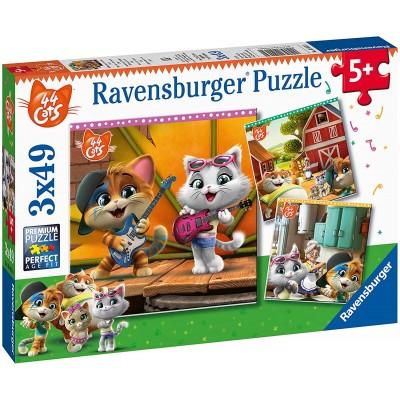 Ravensburger-05013 3 Puzzles - 44 Cats