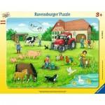Ravensburger-05024 Rahmenpuzzle - Sommertag auf dem Bauernhof