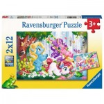 Ravensburger-05028 2 Puzzles - Magische Einhornwelt
