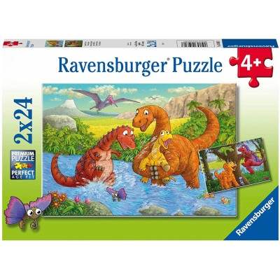 Ravensburger-05030 2 Puzzles - Spielende Dinos