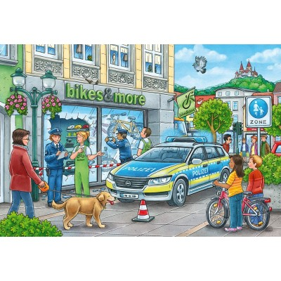 Ravensburger-05031 2 Puzzles - Unterwegs mit Polizeimeisterin Hannah