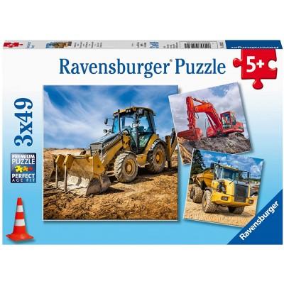 Ravensburger-05032 3 Puzzles - Baufahrzeuge im Einsatz