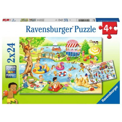 Ravensburger-05057 2 Puzzles - Erholung am See