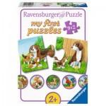Ravensburger-05072 9 Puzzles - Tierfamilien auf dem Bauernhof