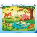 Ravensburger-05075 Rahmenpuzzle - Kleine Tierfreunde
