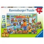 Ravensburger-05076 2 Puzzles - Komm wir gehen einkaufen