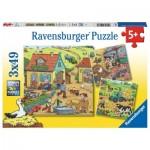 Ravensburger-05078 3 Puzzles - Der Bauernhof