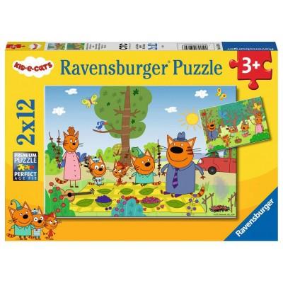 Ravensburger-05079 2 Puzzles - Kid e Cats