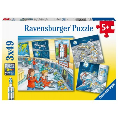 Ravensburger-05088 3 Puzzles - Auf Weltraummission mit Tom und Mia