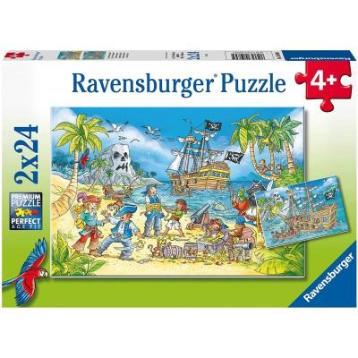 Ravensburger-05089 2 Puzzles - The Adventure Island