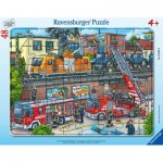 Ravensburger-05093 Frame Puzzle - Firefighters in Action
