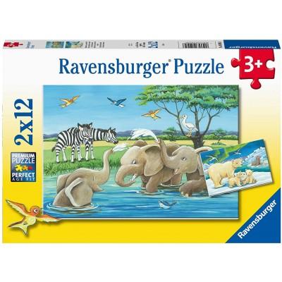 Ravensburger-05095 2 Puzzles - Tierkinder aus Aller Welt