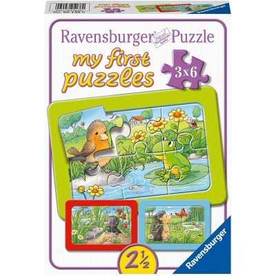 Ravensburger-05138 Rahmenpuzzle - Kleine Gartentiere (3x6 Teile)